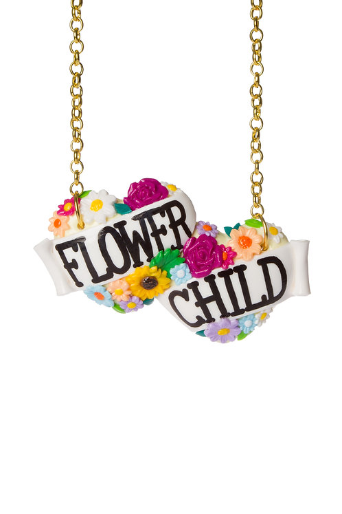Flower Child large double heart necklace