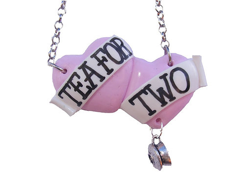 Tea for Two large double heart necklace