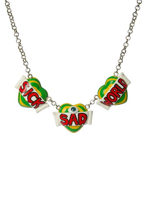 Sick Sad World triple heart necklace