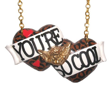 You're So Cool large double heart necklace