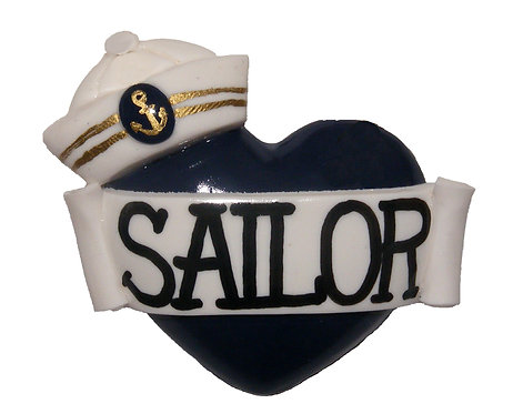Sailor hat single heart barrette
