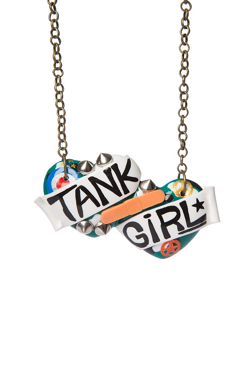 Tank Girl large double heart necklace