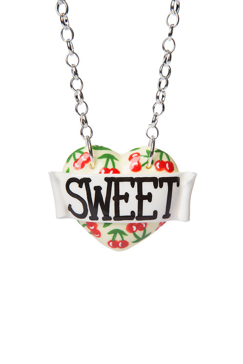 Sweet cherry print single heart necklace