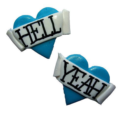 Hell Yeah 2D heart studs