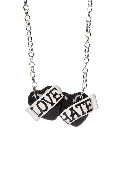Love & Hate small double heart necklace
