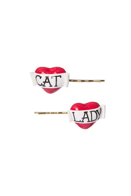 Cat Lady heart hair slides