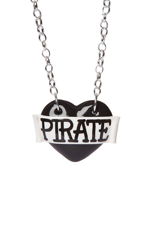 Pirate single heart necklace