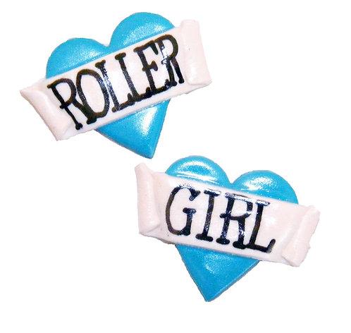 Roller Girl 2D heart studs