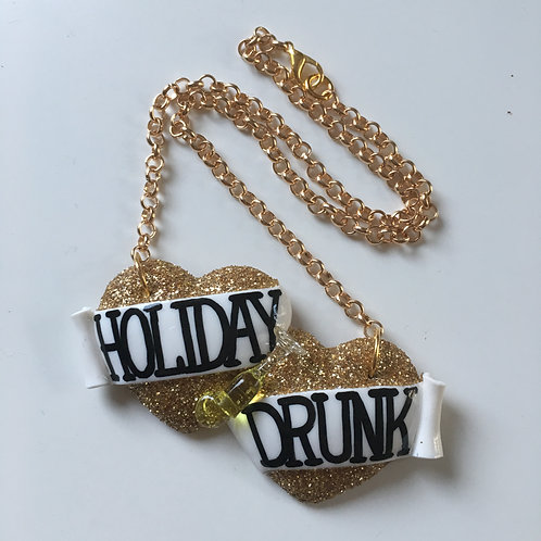 Holiday Drunk large double heart necklace