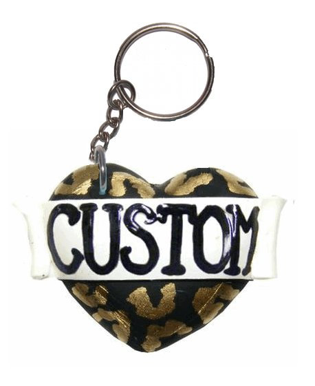 Custom single heart keyring