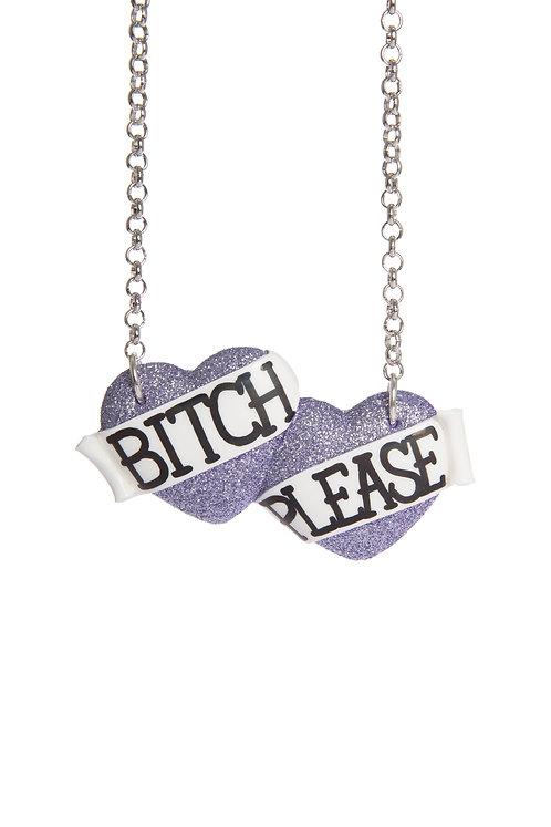 Bitch Please large double heart necklace