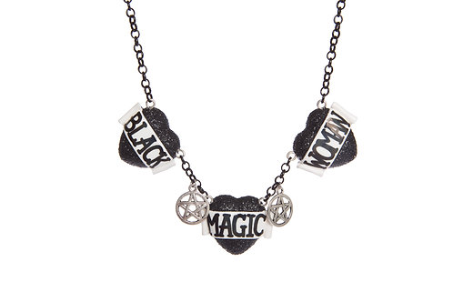 Black Magic Woman triple heart necklace