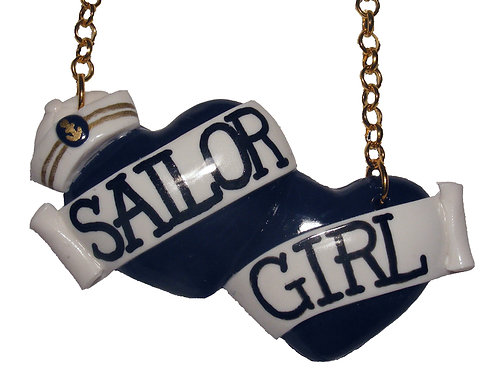Sailor Girl large double heart necklace