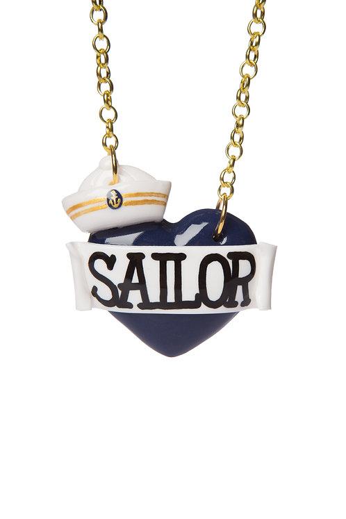 Sailor hat single heart necklace