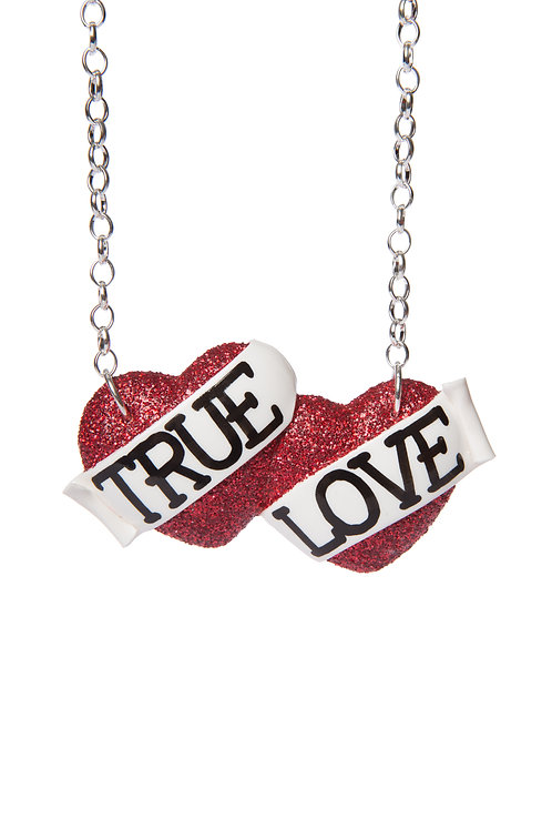 True Love large double heart necklace