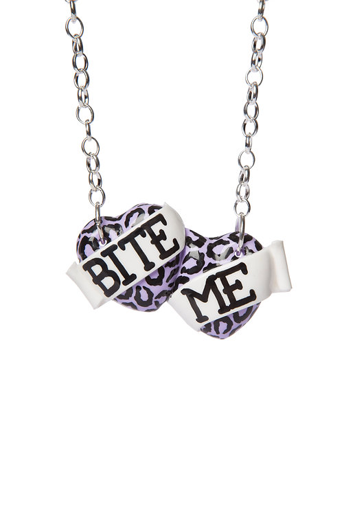 Bite Me small double heart necklace