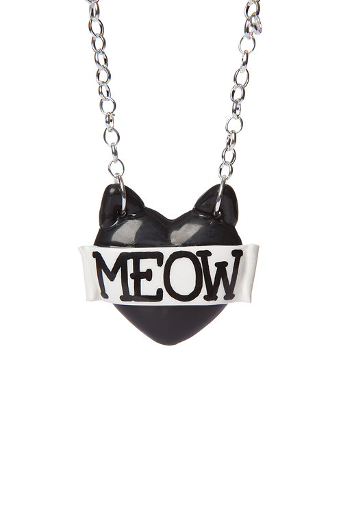 Meow single heart necklace