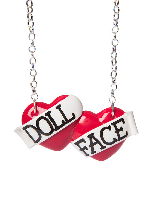 Doll Face large double heart necklace