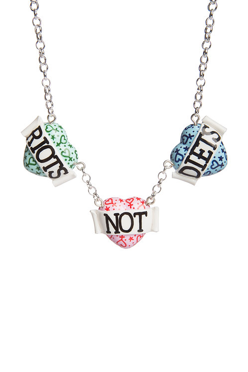 Riots Not Diets triple heart necklace