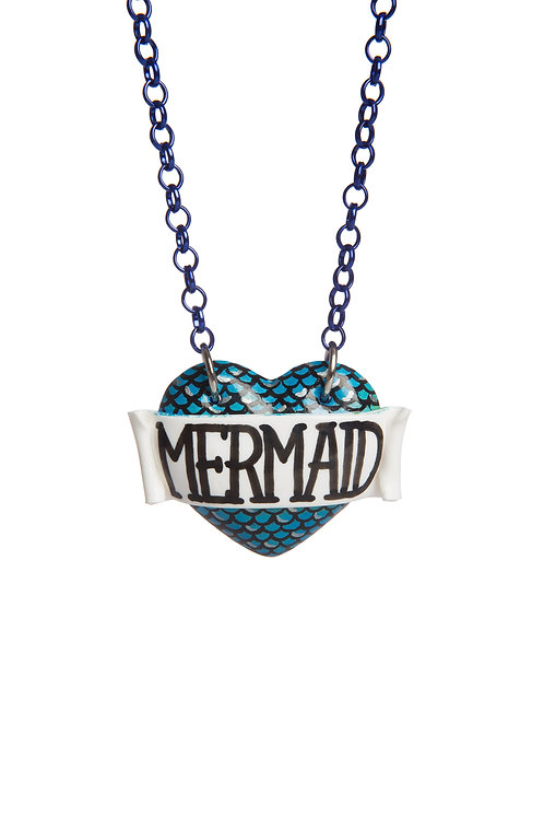 Mermaid scale print single heart necklace