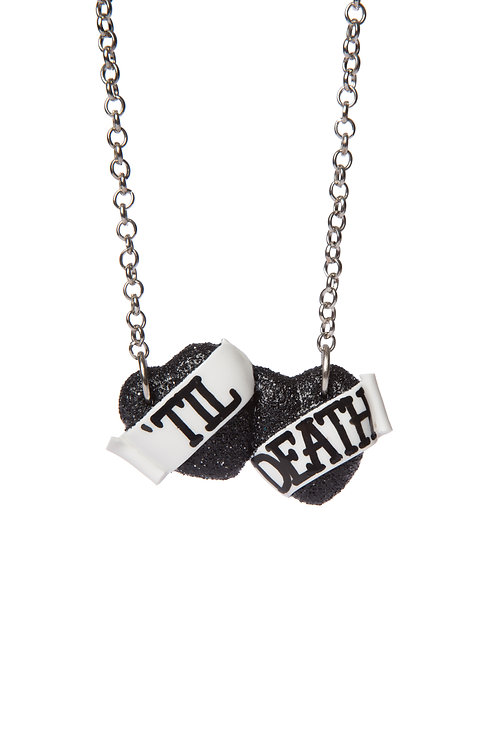 'Til Death small double heart necklace