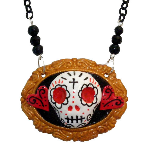 Gold Framed Sugar Skull necklace