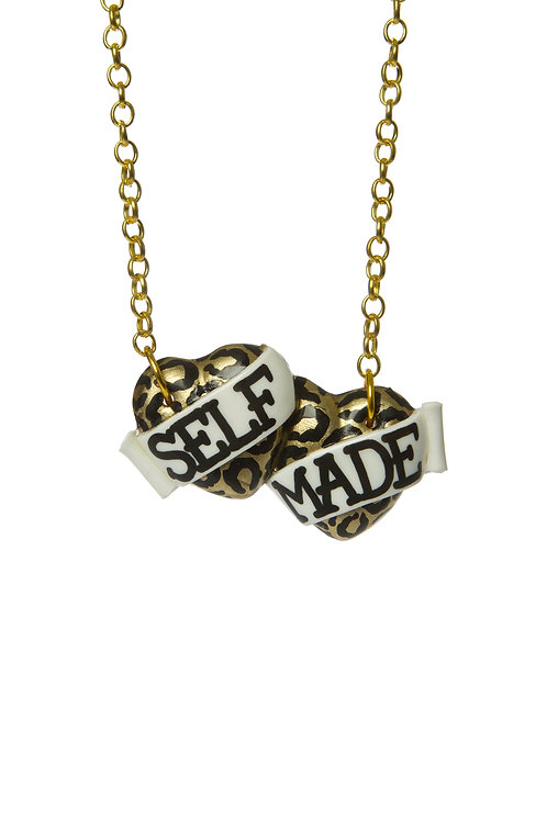 Self Made small double heart necklace