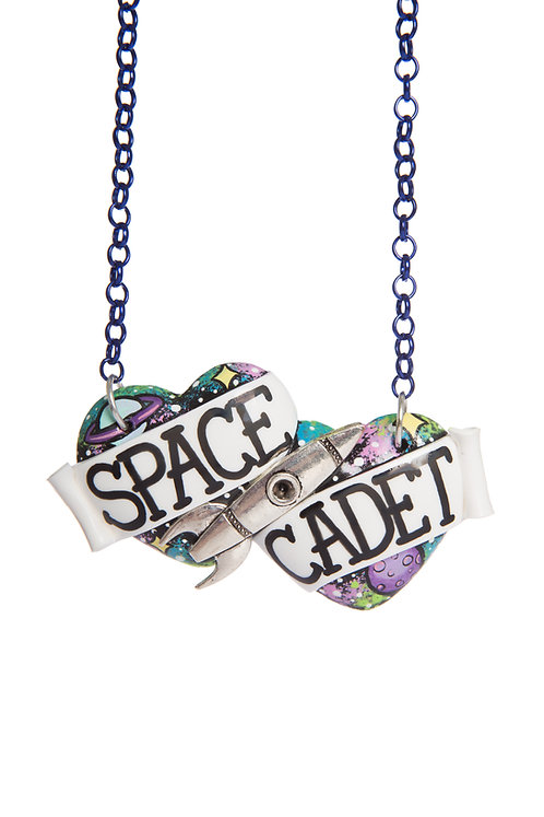 Space Cadet large double heart necklace