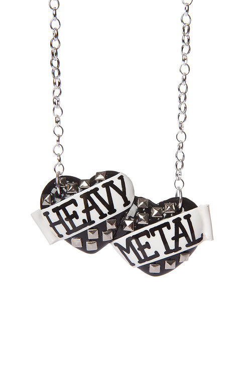 Heavy Metal large double heart necklace