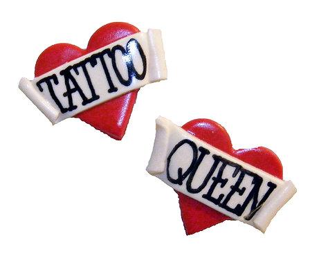 Tattoo Queen 2D heart studs