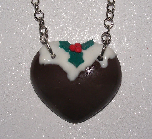 Christmas pudding single heart necklace