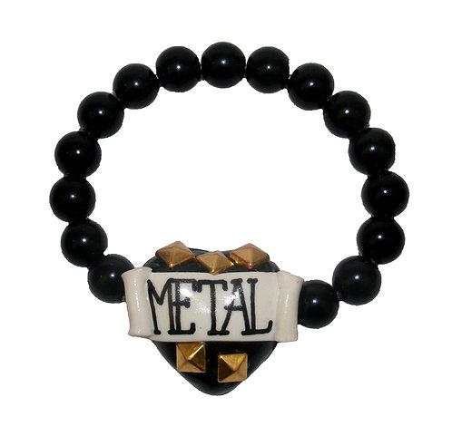 Metal heart stretch bracelet
