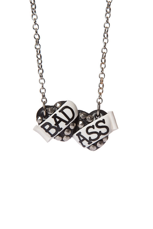 Bad Ass small double heart necklace