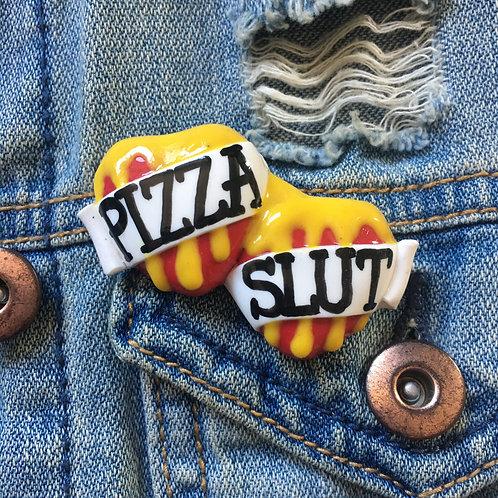 Pizza Slut small double heart brooch