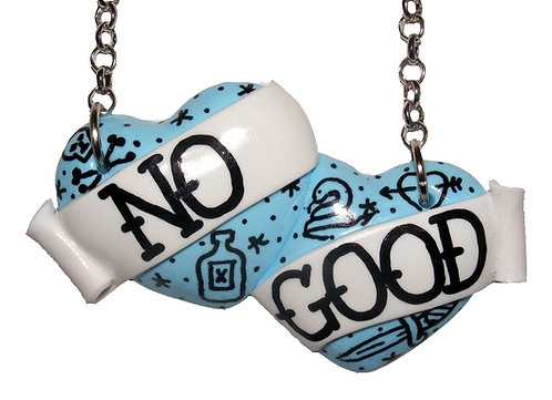 No Good large double heart necklace