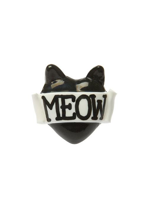 Meow single heart ring