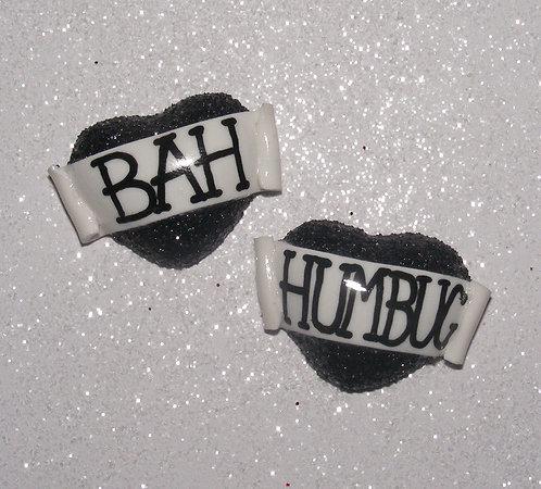 Bah Humbug 3D heart studs
