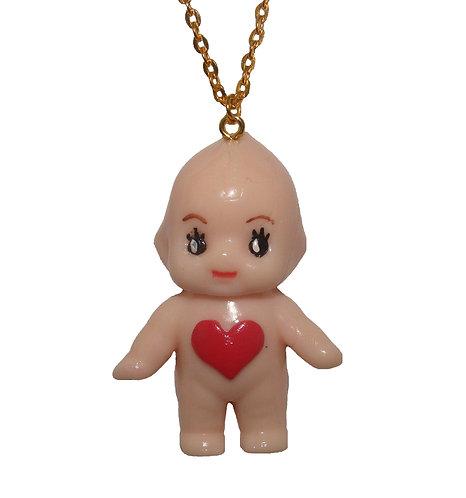 Heart belly kewpie necklace