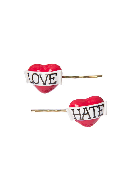 Love & Hate heart hair slides