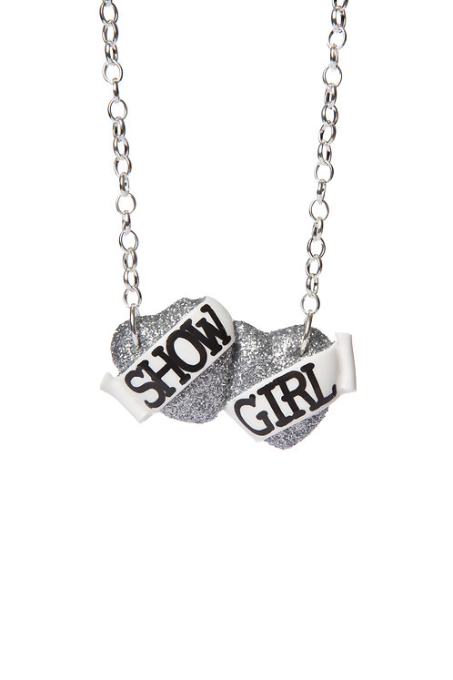 Show Girl small double heart necklace
