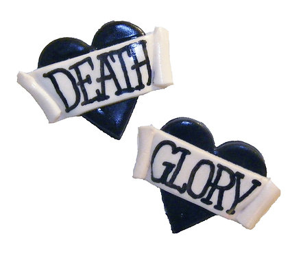 Death or Glory 2D heart studs