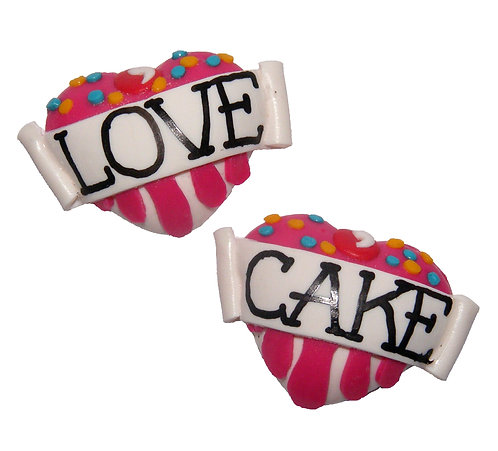 Love Cake 3D heart studs
