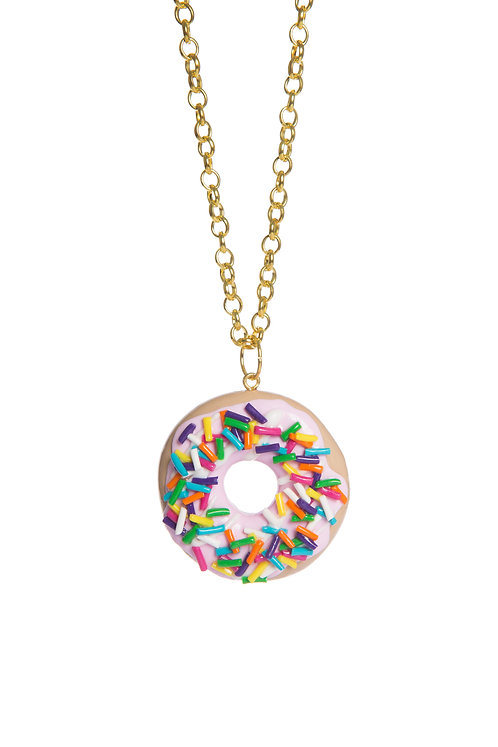 Rainbow Sprinkles Donut necklace