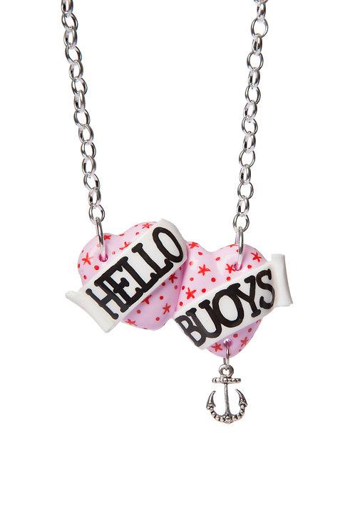 Hello Buoys small double heart necklace