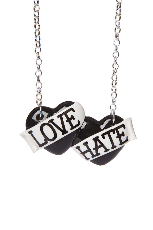 Love & Hate large double heart necklace