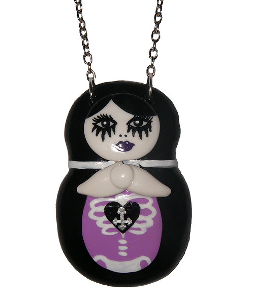 Goth Matryoshka doll necklace