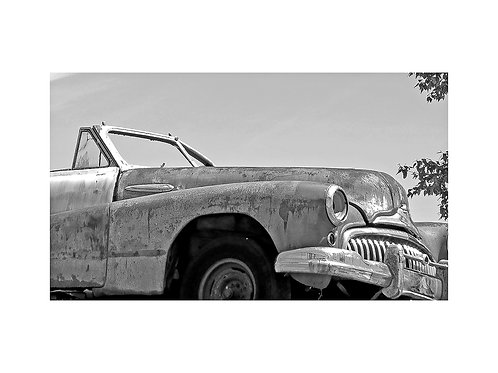Black and White old car portrait