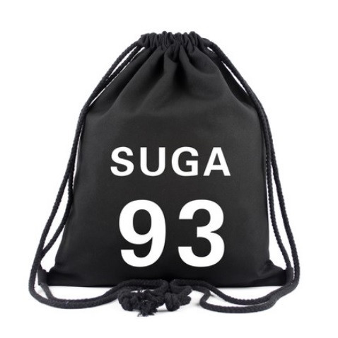 Drawstring bag with BTS s member and jersey number printed on top.