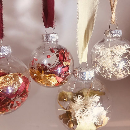 4 pack ~ Dried floral filled baubles