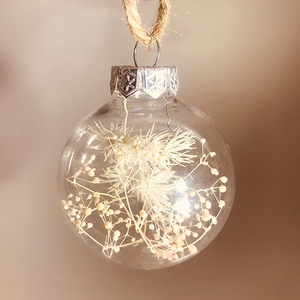 Dried floral filled baubles ~ NEUTRAL NATURAL